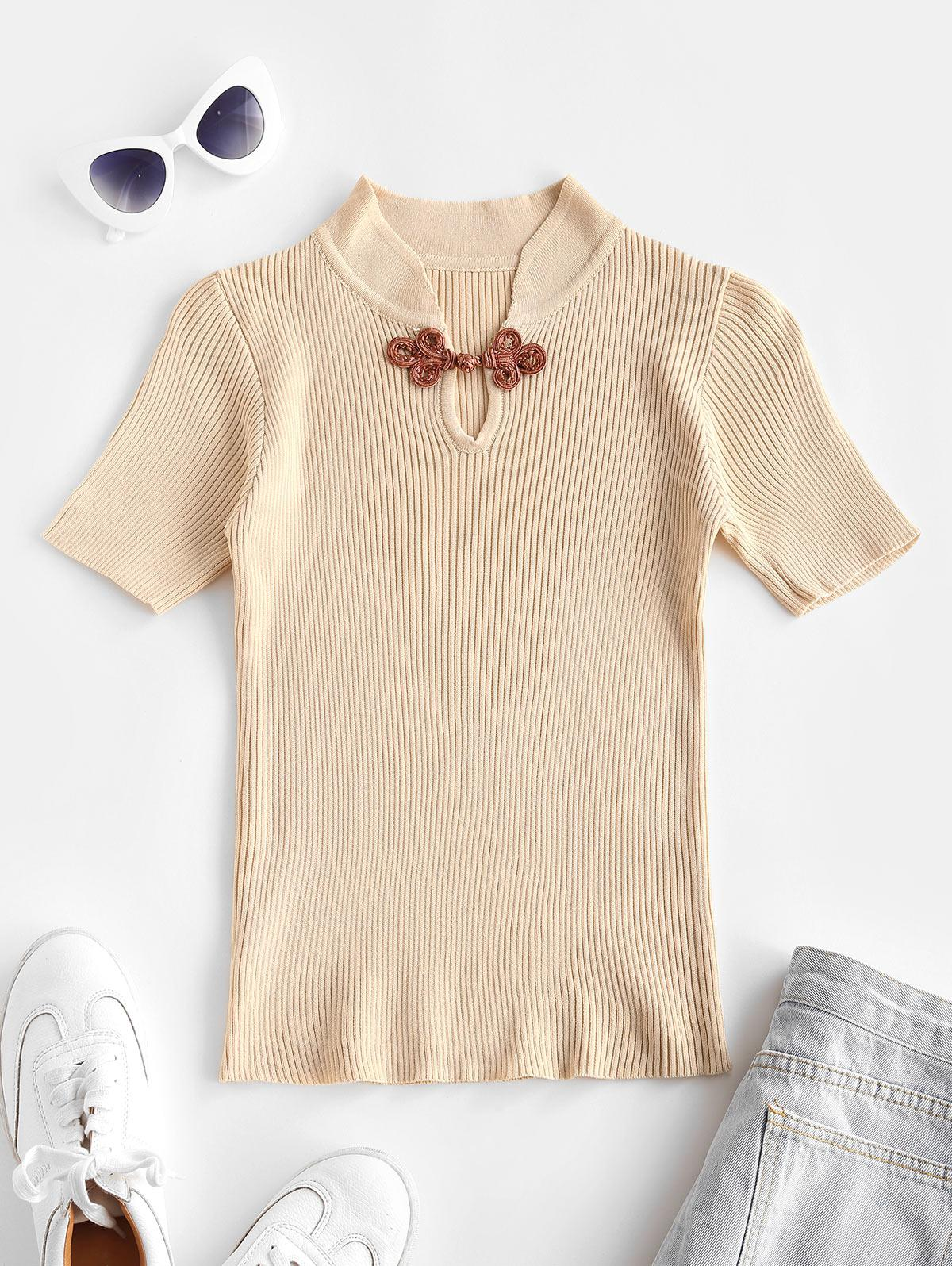 Frog Button Ribbed Knit Top