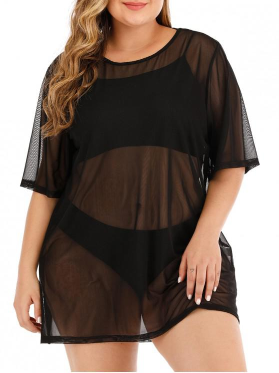 womens Sheer Mesh Solid Plus Size Beach Top - BLACK 4X