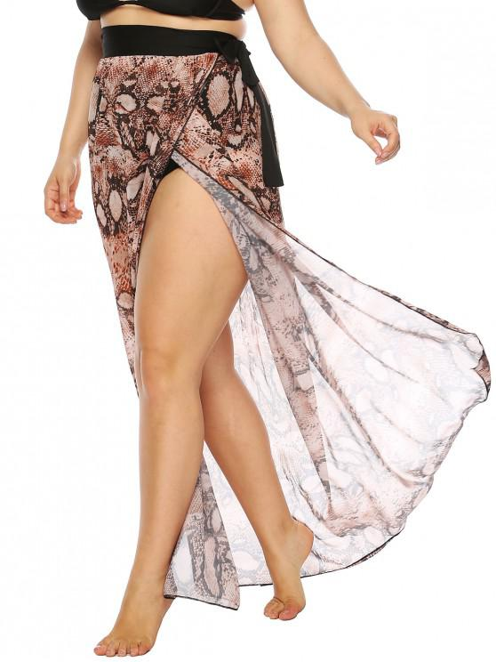 best Plus Size Snakeskin Print Multiway Sarong Wrap Cover Up - MULTI-A 4X
