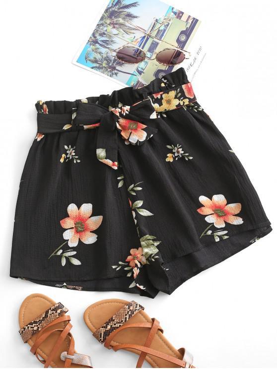 hot Floral Textured Paperbag Shorts - BLACK S