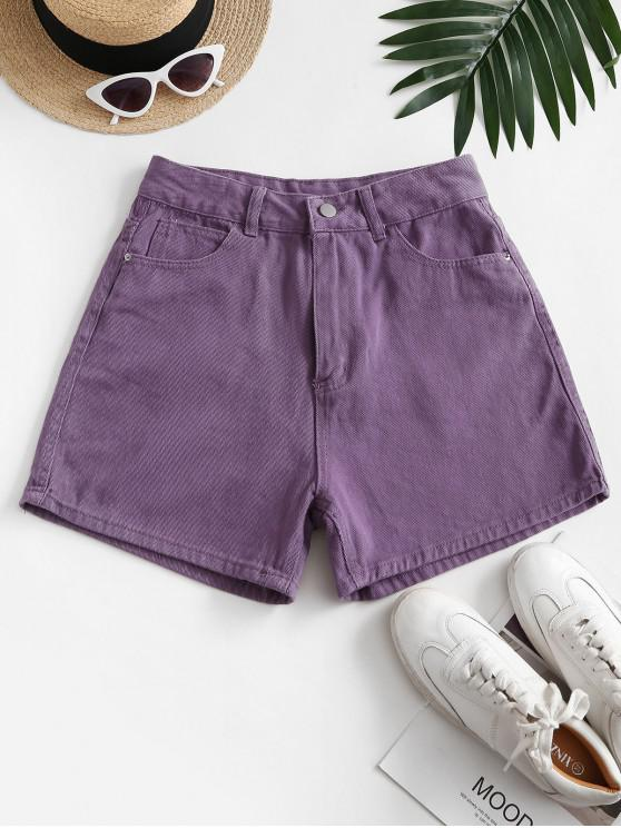 outfits High Waisted Wide Leg Denim Shorts - PURPLE L