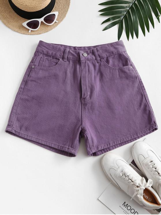 fashion High Waisted Wide Leg Denim Shorts - PURPLE M