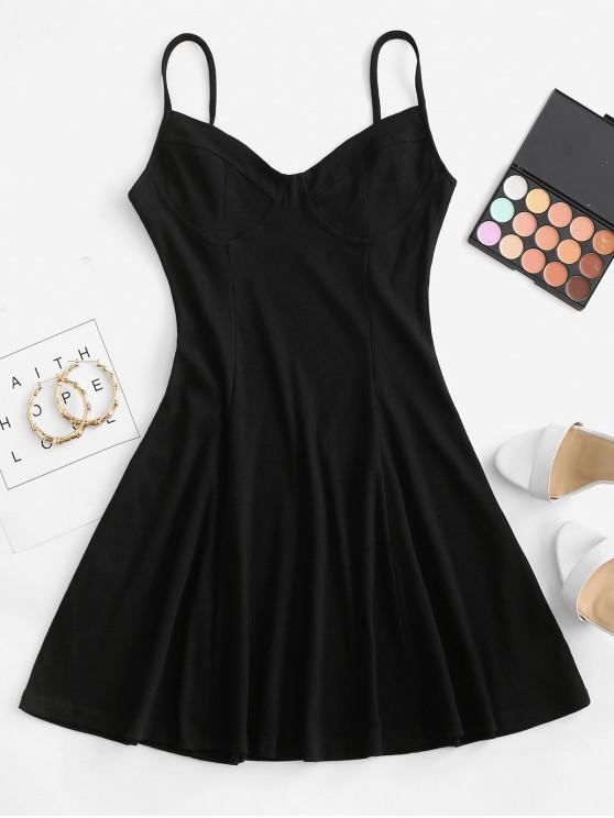 trendy Ribbed Fit and Flare Bustier Dress - BLACK S