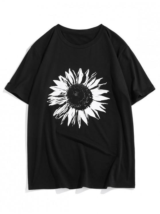 ZAFUL Flower Pattern Short Sleeves T-shirt - أسود S