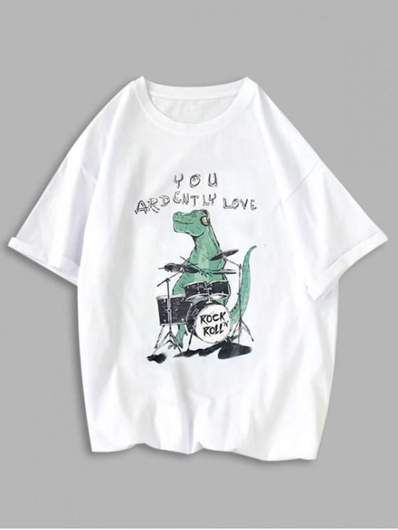T-shirt Dinosaure Graphique - Blanc XS