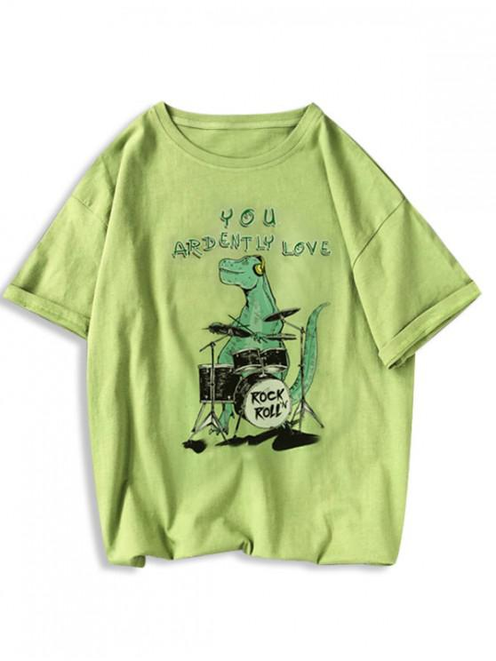 Rock Roll Dinosaur Graphic T Shirt - الأفوكادو الأخضر L