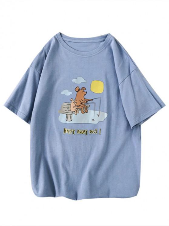 Camiseta Gráfica con Estampado de Cerdo de Dibujos Animados - Celeste L