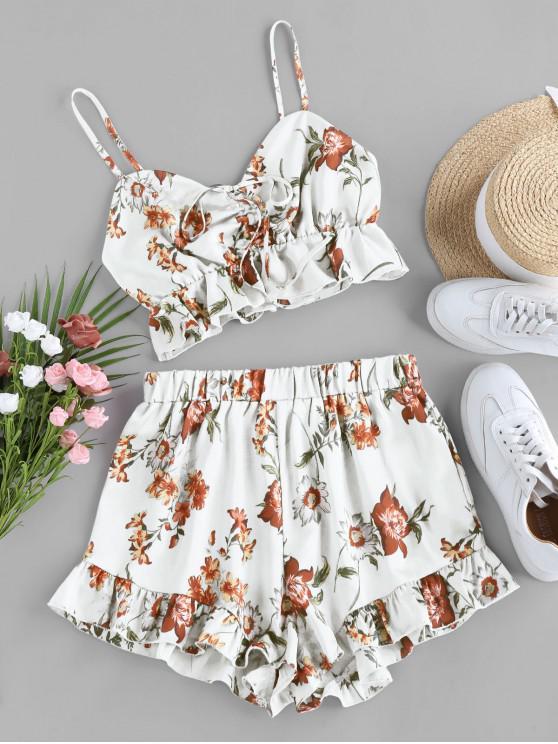 shop ZAFUL Floral Print Cinched Flounce Two Piece Set - WHITE M