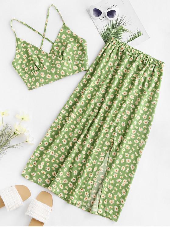 online Daisy Print Tie Back Slit Two Piece Dress - GREEN XL