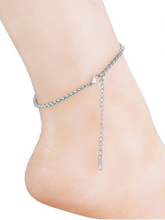 affordable 316L Stainless Steel Solid Color Keel Chain Anklets - SILVER