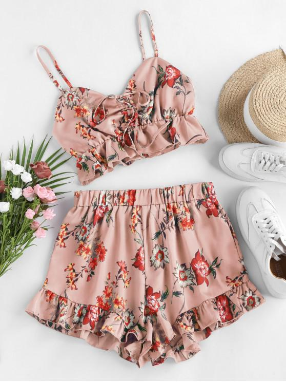 affordable ZAFUL Floral Print Cinched Flounce Two Piece Set - KHAKI ROSE S