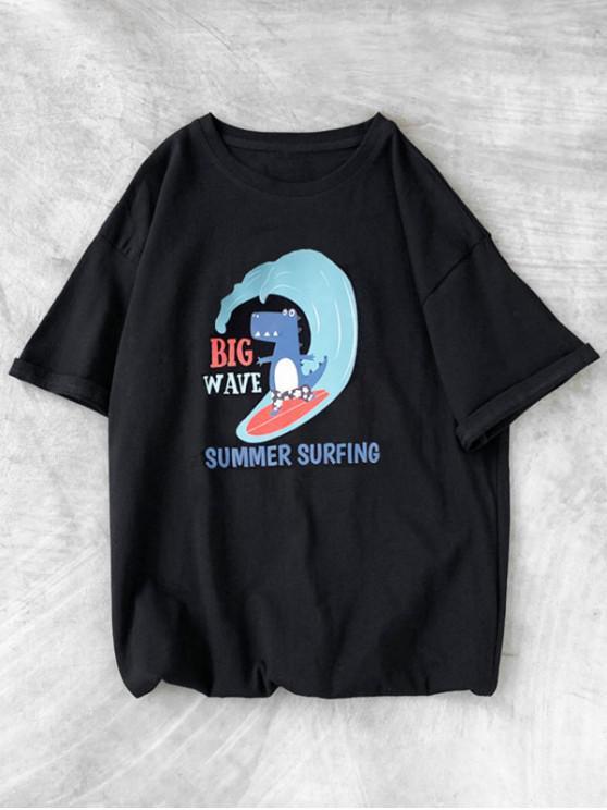 Cartoon Tiergesichts Reinigendes Beiläufiges T-Shirt - Schwarz XS