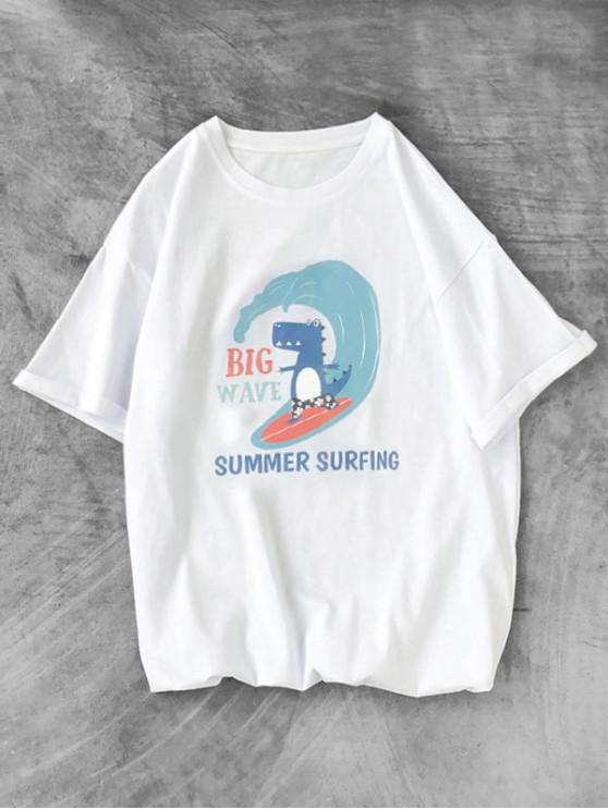 affordable Cartoon Animal Summer Surfing Graphic Tee - WHITE S