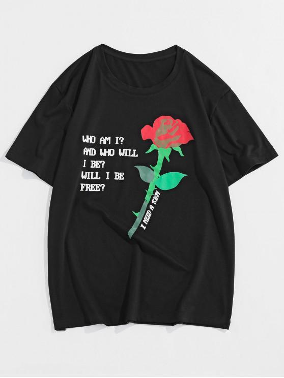 Rose Letter Pattern Short Sleeves T-shirt - أسود S
