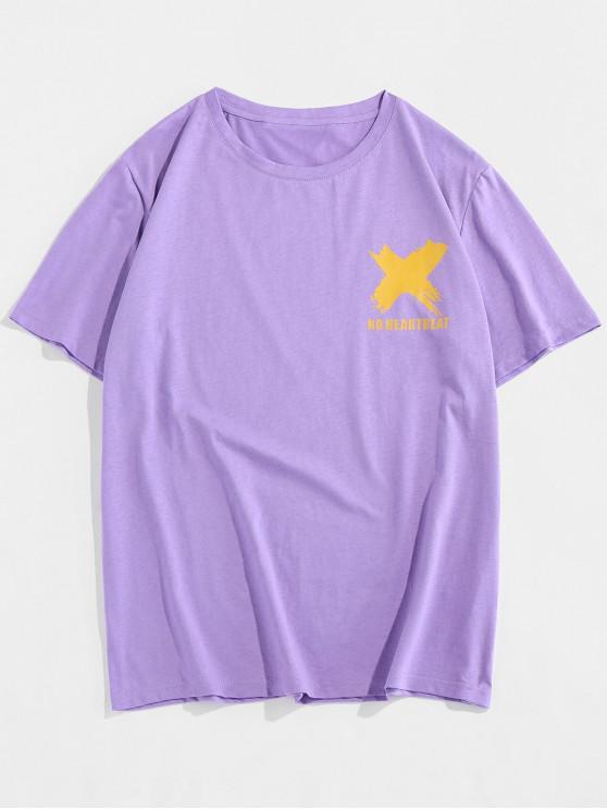 ZAFUL No Heartbeat Graphic Basic T-shirt - أرجواني 2XL