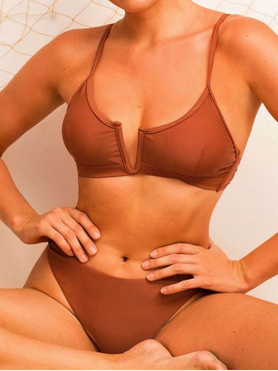 Costume da Bagno Bikini Incrociato di ZAFUL con Taglio Alto a V - Rosso Mollissima S