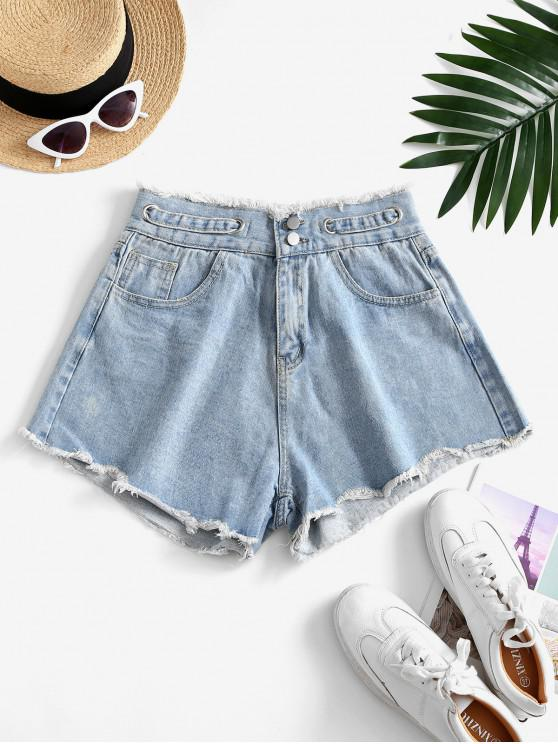 ladies Frayed Grommet Denim Cutoff Shorts - LIGHT BLUE XL