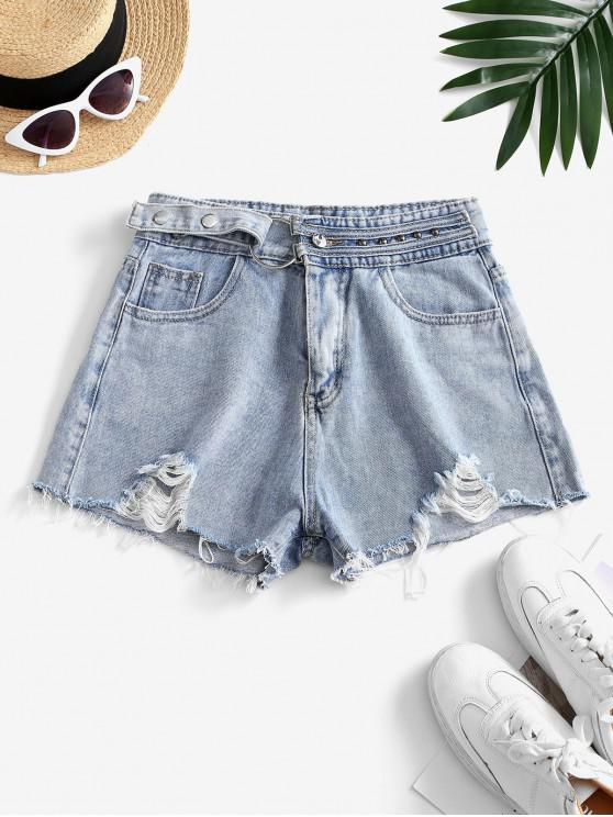outfits Snap Button Frayed Distressed Cutoff Shorts - LIGHT BLUE M