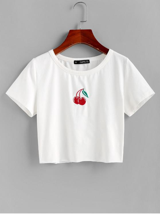 ladies ZAFUL Cherry Embroidered Crop Tee - WHITE S