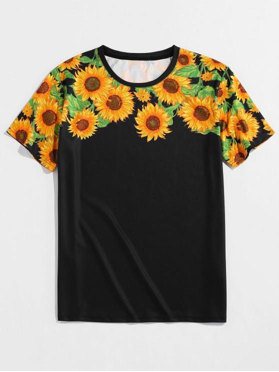 ZAFUL Sunflower Print Short Sleeves T-shirt - أسود S