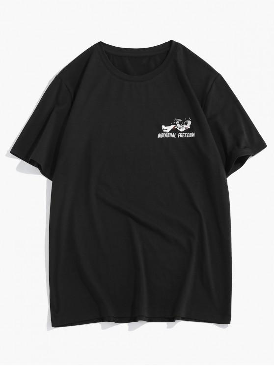 ZAFUL Letter Graphic Round Neck T-shirt - أسود S