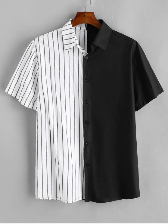 latest ZAFUL Colorblock Panel Striped Shirt - BLACK 2XL
