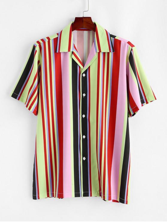 best Colorful Striped Pattern Button Shirt - LIGHT YELLOW XL