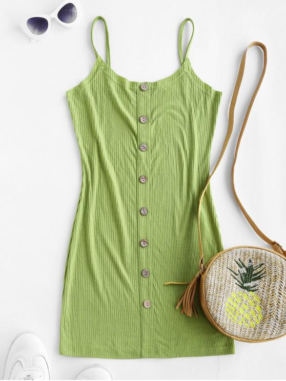 chic ZAFUL Ribbed Buttoned Bodycon Dress - LIGHT GREEN S