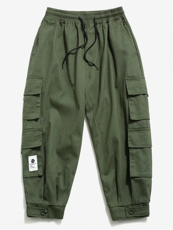 Einfarbige Cargo Hose mit Mehreren Taschen - Armeegrün XS