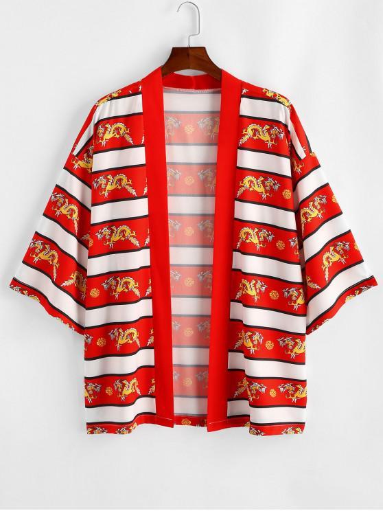 Dragon Printed Casual Kimono Shirt - أحمر 2XL