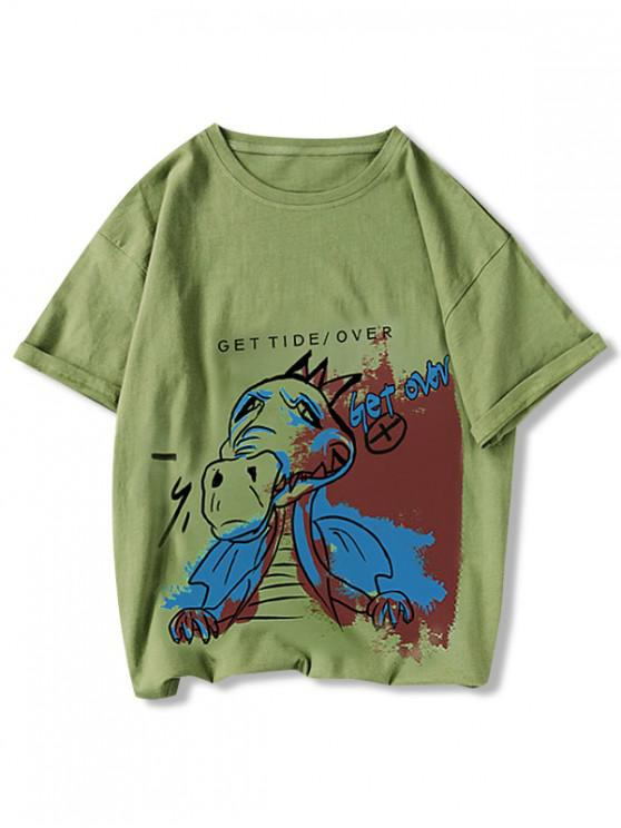 latest Get Over Animal Paint Graphic Tee - PISTACHIO GREEN L
