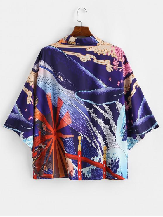 hot Floral Shark Ocean Waves Graphic Kimono Cardigan - DENIM DARK BLUE 2XL