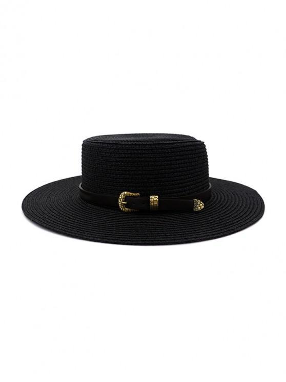 Buckle Belt Wide Brim Flat Top Straw Hat - أسود