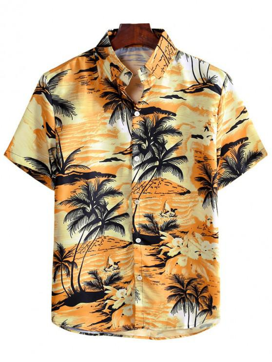 ladies Coconut Tree Landscape Print Vacation Shirt - BEE YELLOW 2XL