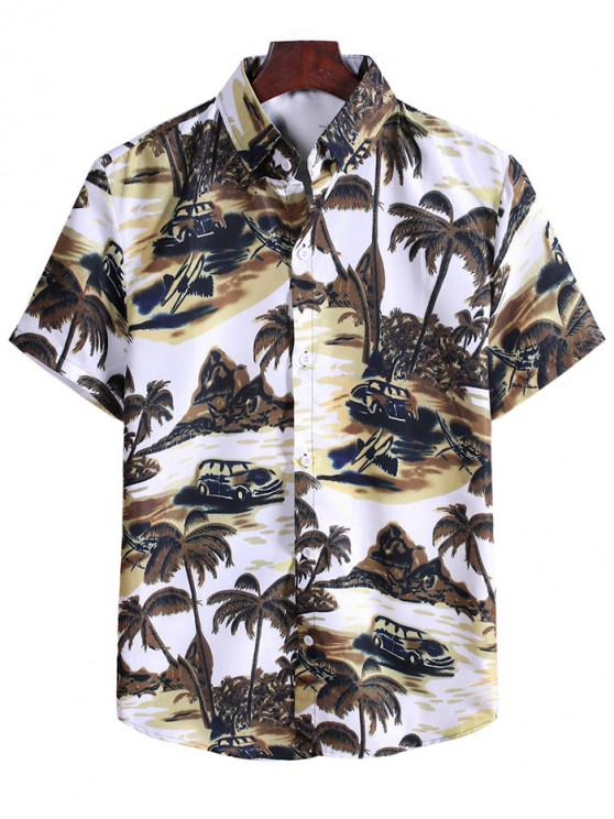 Coconut Tree Landscape Print Vacation Shirt - دب بنى 2XL