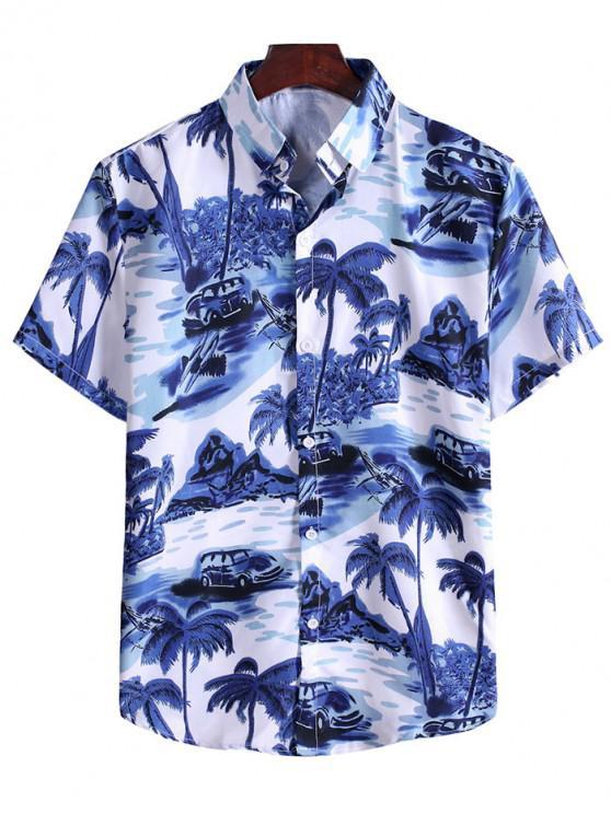 Nucă de cocos peisaj copac Shirt Print Vacation - Blueberry Blue 3XL