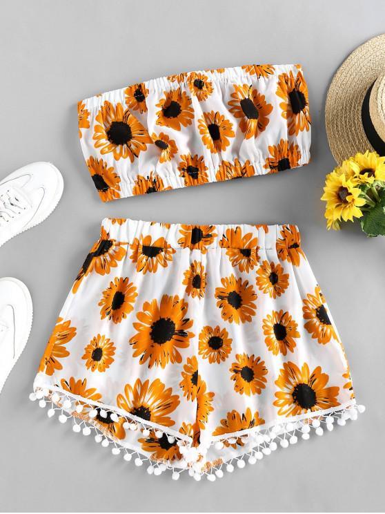trendy ZAFUL Sunflower Pompom Trim Bandeau Two Piece Set - WHITE XL