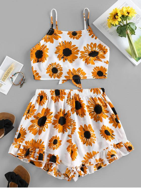 unique ZAFUL Sunflower Knotted Ruffle Two Piece Set - WHITE S
