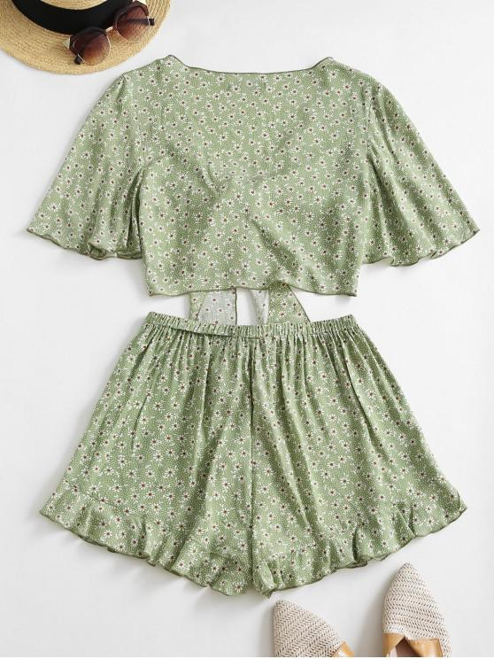 ZAFUL Ditsy Print Tied Ruffle Wide Leg Shorts Set - Light Green S