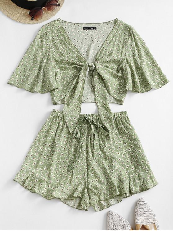 lady ZAFUL Ditsy Print Tied Ruffle Wide Leg Shorts Set - LIGHT GREEN S