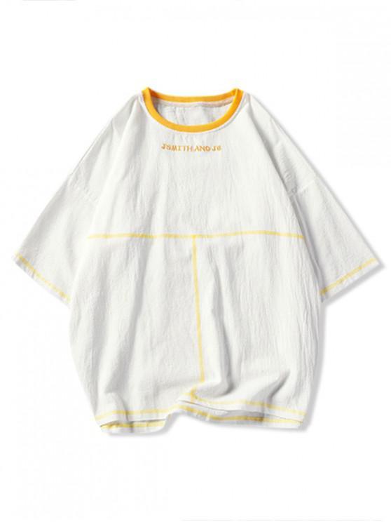 Stickerei Kontrast Nähte Fallschulter T-Shirt - Weiß 4XL