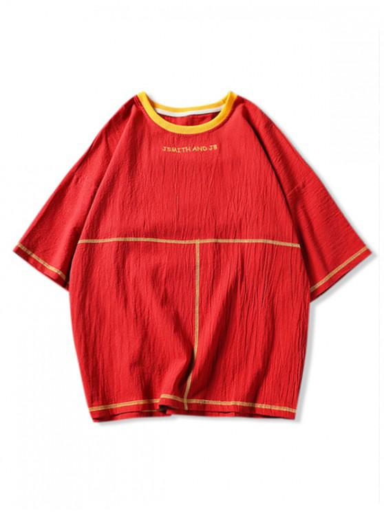 women's Embroidery Contrast Stitching Drop Shoulder T-shirt - RED 3XL