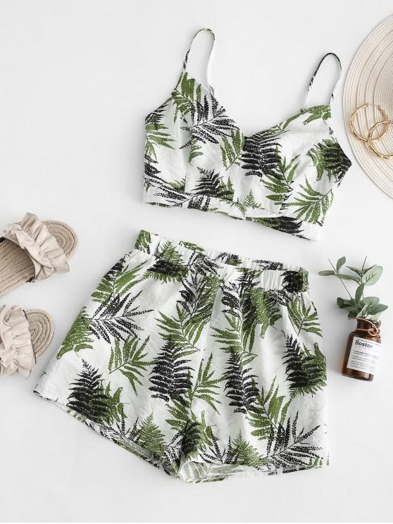 shop ZAFUL Leaf Print Smocked Loose Shorts Set - LIGHT GREEN M