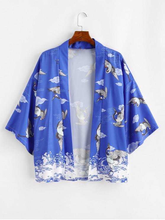 buy Ocean Waves Flying Crane Print Oriental Kimono Cardigan - COBALT BLUE XL