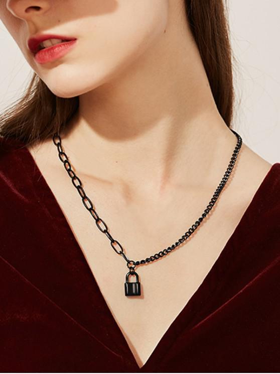 fashion Black Gun Plated Lock Pedant Chain Collarbone Necklace - BLACK