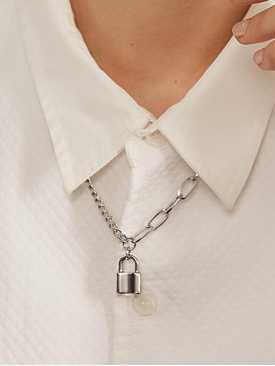 women 316L Stainless Steel Lock Pedant Chain Collarbone Necklace - SILVER