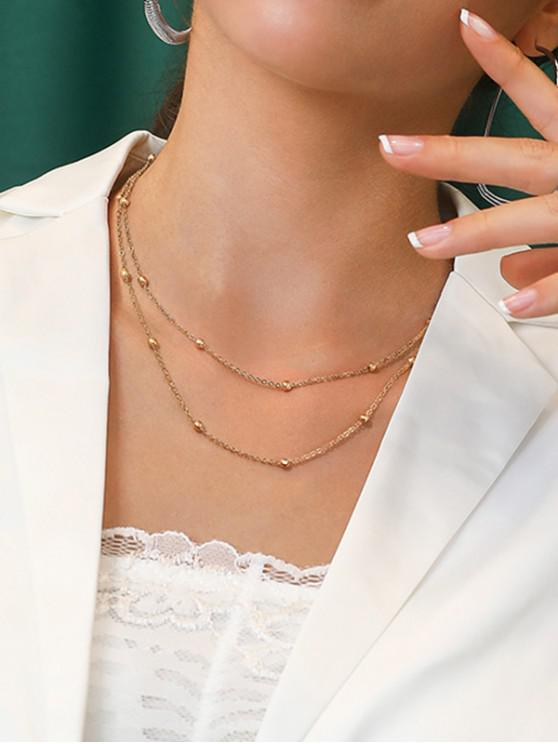 womens 18K Gold Plated Beads Double Layer Chain Necklace - GOLDEN