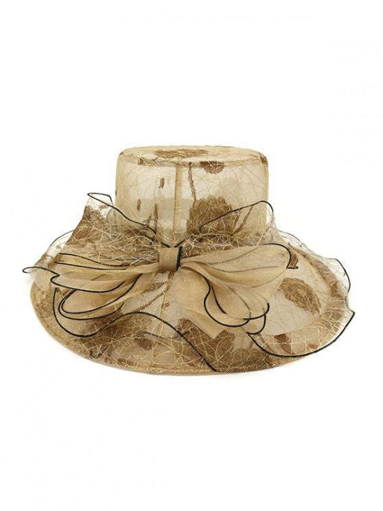 Bowknot Sheer Organza Wide Brim Hat - Khaki