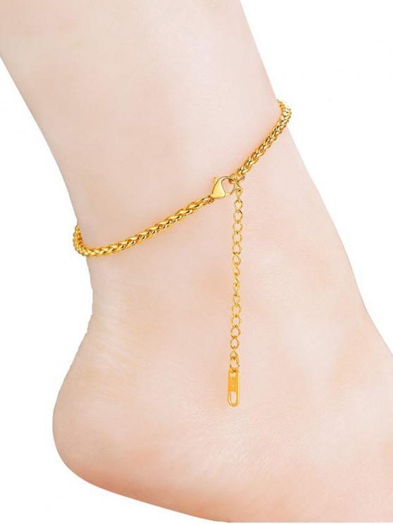 sale 18K Gold Plated Solid Color Keel Chain Anklets - GOLDEN