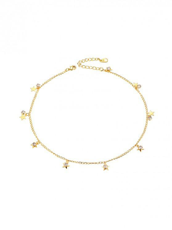 shops 18K Gold Plated Star Rhinestone Chain Collarbone Necklace - GOLDEN
